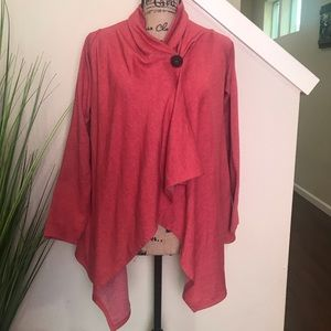 Orange/red Bobeau single button cardigan